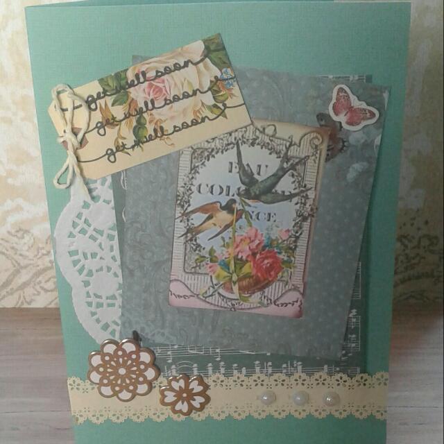 Handmade Vintage Floral Get well Card