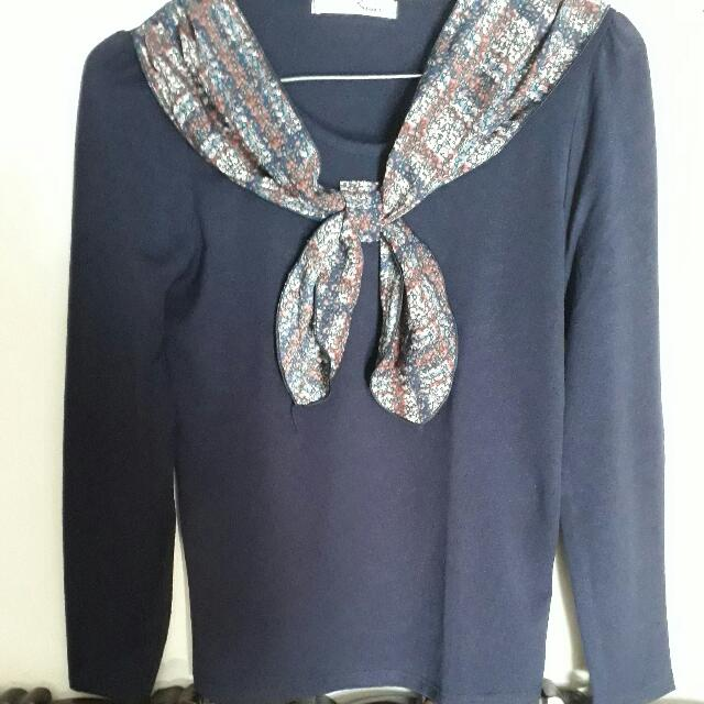 [Flash Sale] Korean Sweater Shirt With Bow Detail