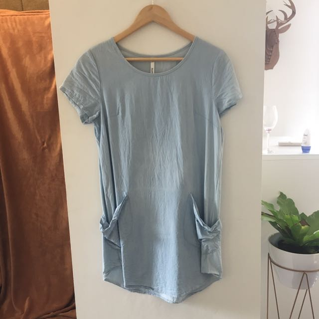Light Wash Chambray Shift Dress
