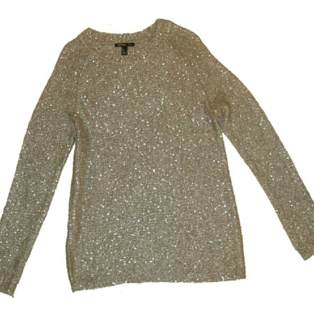 MANGO 亮片金蔥針織套頭衫(寬鬆型) sequinned metallic woven fabric pullover