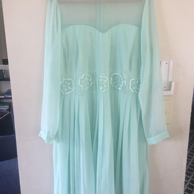 Mint Green Long Sleeved Short Ball Dress Plus Size