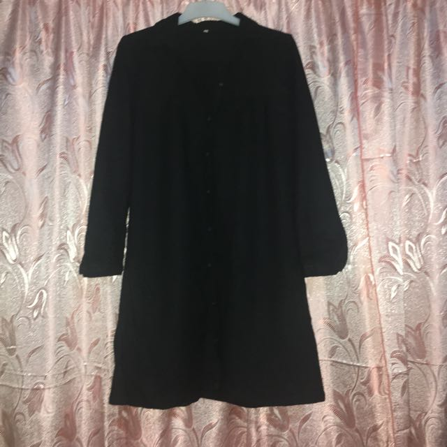 MUJI Black Wool Dress