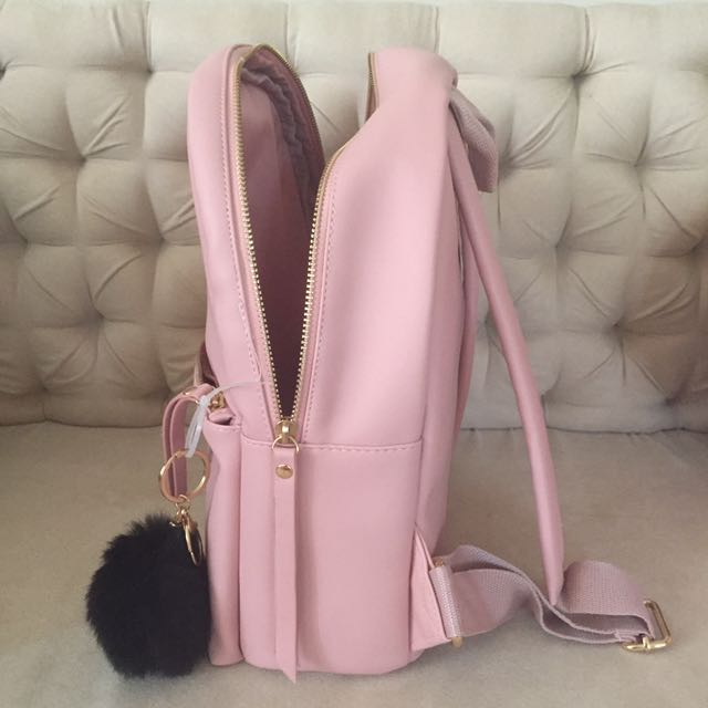 NEW Pink Leatherette Backpack