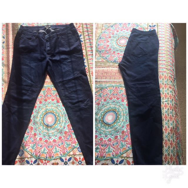 Plus Sized Navy Patterned Jeans