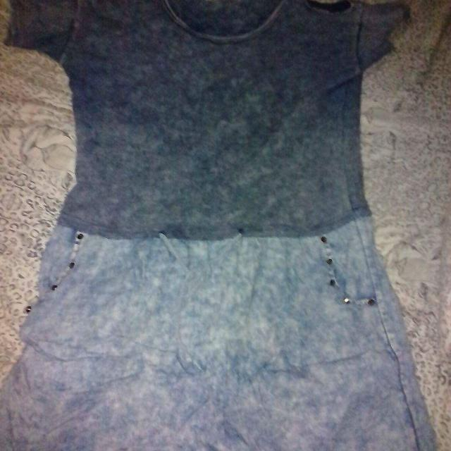 Preloved Acid Wash Denim Dress With Studs