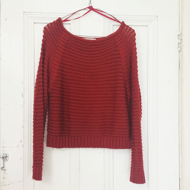 Red Cropped Knit Jumper