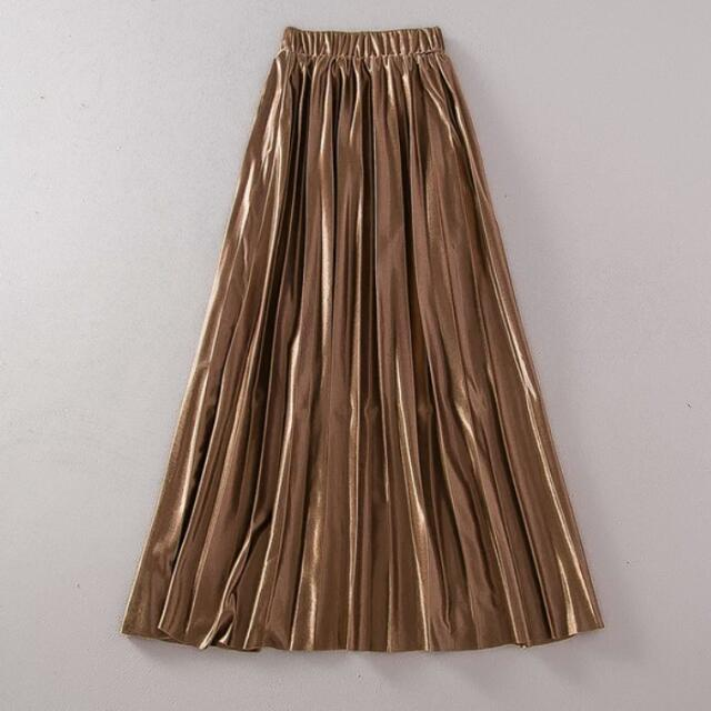 8f505ff0ed Bronze Satin Pleated Skirt , Women's Fashion, Clothes, Bottoms on ...