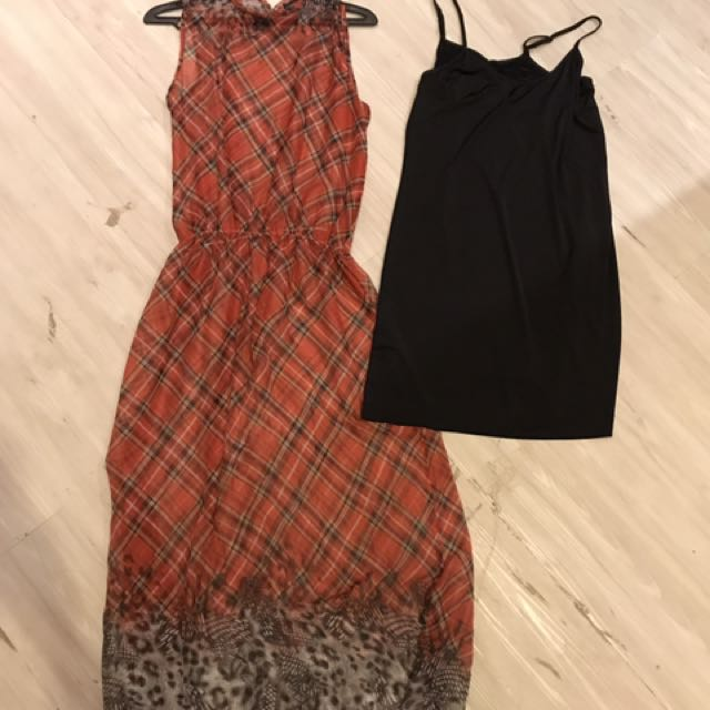 See-through patterned dress w/ inner included