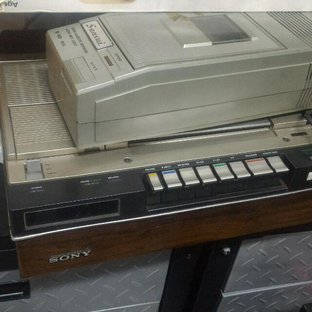 Sony Betamax,sansui Rewinder And Tapes