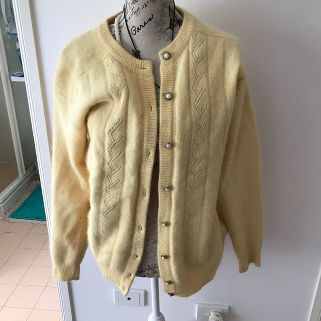 Super Soft Vintage Angora Wool Cardigan With Pearl Buttons