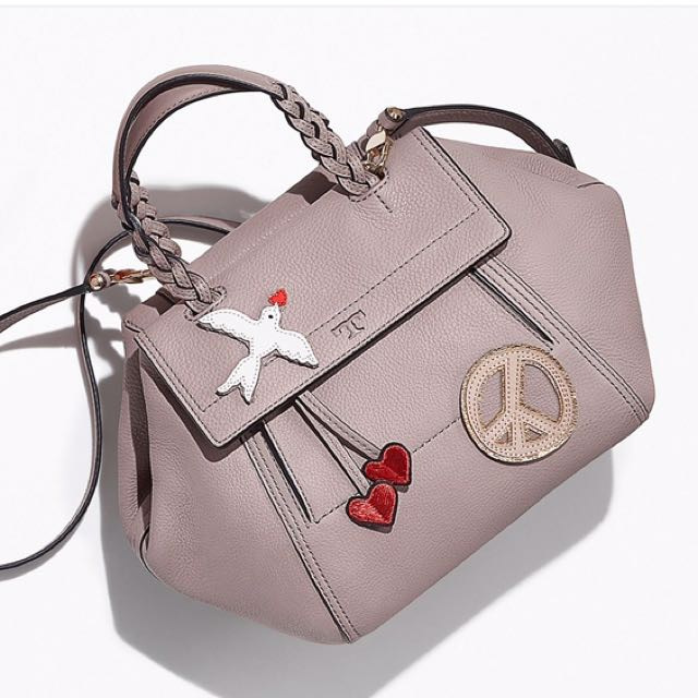 07d7dca86ec Limited Edition) Tory Burch Peace Embellished Half-Moon Small ...