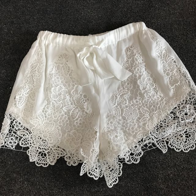 White Lace Shorts Size S