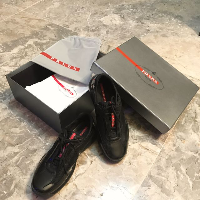 Worth 15k Prada Black Sneakers Good As Brand New Used Less Than 5x Size 37 Comfy Sneakers
