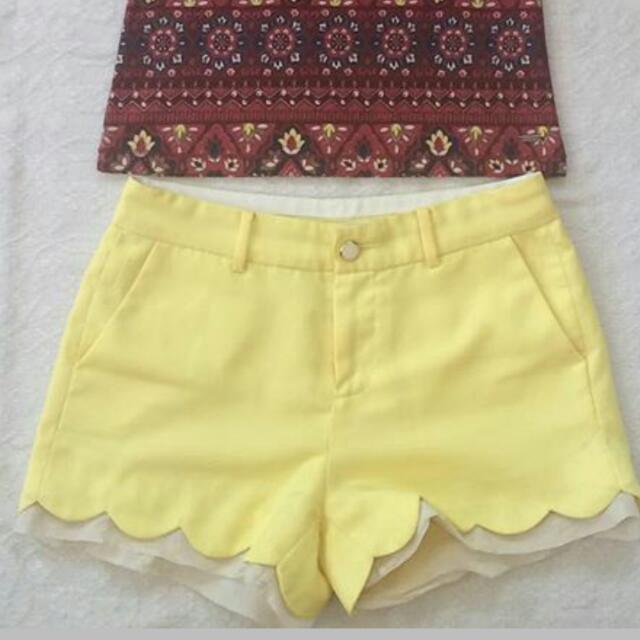 Yellow Scallop Shorts
