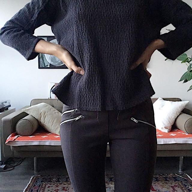 Zara Woman Cotton Stretchy Charcoal Pants