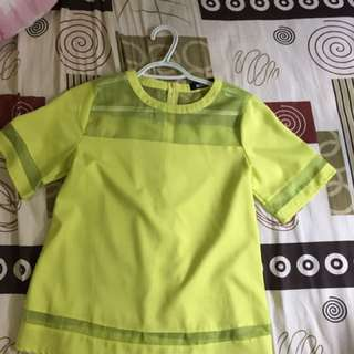 Lime Green Tshirt With Mesh Cut Out