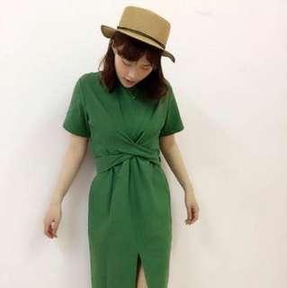 韓版 綠色 小清新 綁腰 長版 顯瘦洋裝