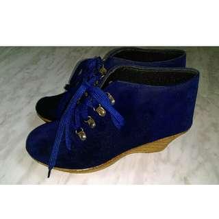 Solid Velvet Wedges/ Boots- Size 41
