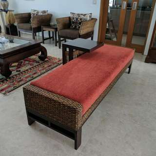 Red Color 3 Seater Wicker Bench