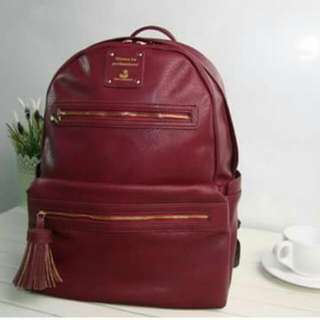 Wine Red PU Leather Bag With Tassle