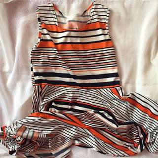 Orange And Blue Striped Dress