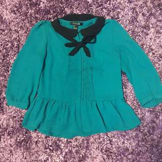 F21 Cute Blue Peplum Shirt