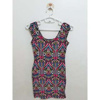 Divided Aztec Printed Bodycon Dress