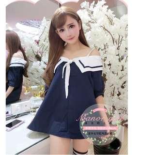 夏季學院風娃娃裙海軍水手服女清純學生妹制服誘惑吊帶連衣裙短款(深藍)