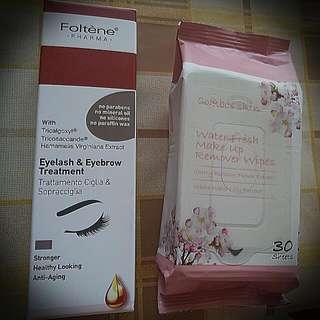 ****Selling Both Together at $30!!!!****  Foltène PHARMA eyelash and eyebrow treatment  and  Combos Skin Water Fresh Make-up Remover Wipes (cherry blossom flower extract, white water lily extract) 30 sheets.