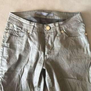 Superfine Khaki Waxed Jeans Wet look Metallic