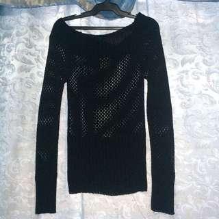 Off-shoulder Black Knitted