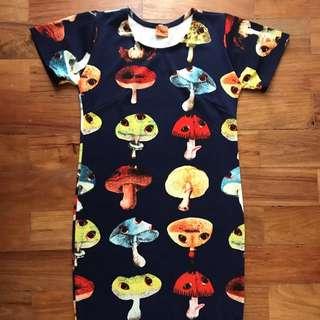 Mushroom Design midi Bodycon Dress