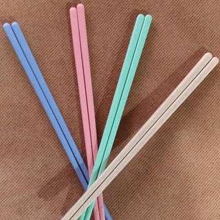 小麥筷子 四色一組 全新
