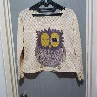 Crop Top Rajut Owl