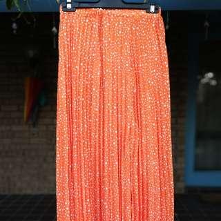 Orange Pleated Maxi Skirt