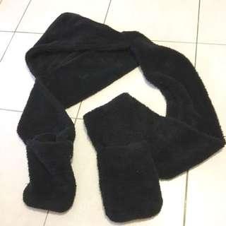 超長保暖圍巾/還有帽子跟口袋/多功能