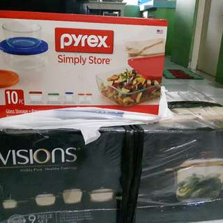 Buy 9 Pc. Vision Covered Cookware Set And Get Free 10pc Pyrex Storage Set (Save 3,700)