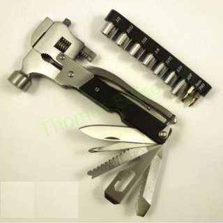 Stainless steel Multifunctional hardware tool hammer with sleeve movable wrench hammer outdoor camping tool