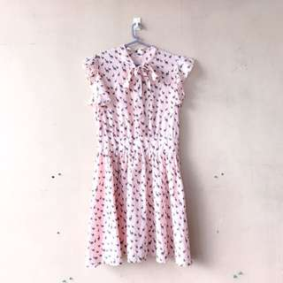Pastel Pink Preppy Korean Dress