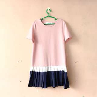 Salmon Pink Pleated Korean Dress