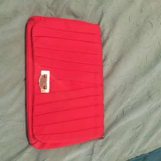Bright Coral Clutch Or Side Bag