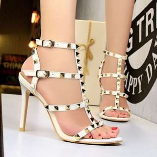 White Studded Open Toe Heels Sandals PRE ORDER