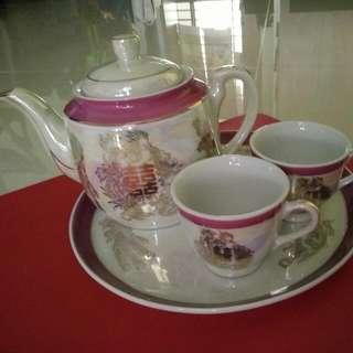 Wedding Tea Ceremony Tea Pot/Cups Set (made in Japan)