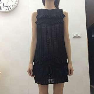 真品3.1黑色氣質OL風遮副乳連身裙蛋糕裙荷葉透視洋裝
