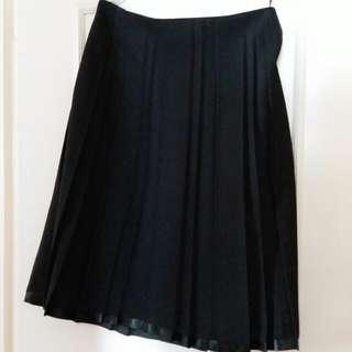 黑色百摺西裝裙 (28至30吋腰)