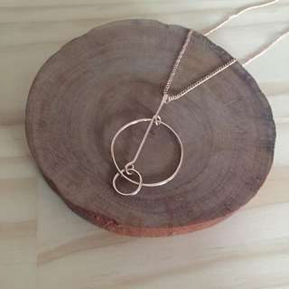 Rose Gold Circle & Bar Necklace