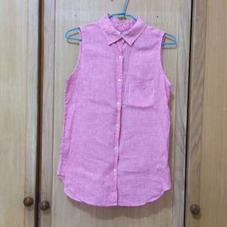 Uniqlo粉紅細格紋襯衫背心