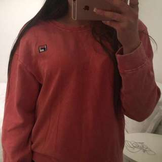 WASHED OUT RED FILA SWEATSHIRT 😍🔥