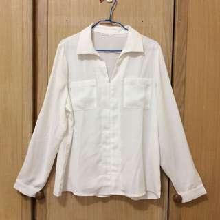 Meier Q白色雙口袋雪紡襯衫(L號)