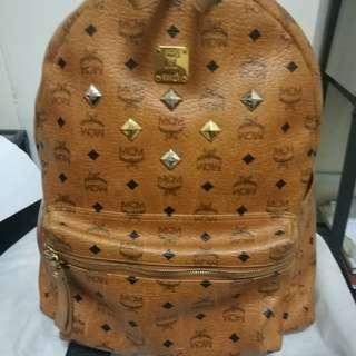 MCM bagpack Visetos Cognac